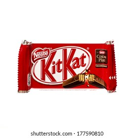 VARNA, BULGARIA - FEBRUARY 19, 2014: Kit Kat bar isolated on white. Kit Kat is a chocolate biscuit bar confection that is manufactured by Nestle