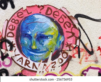 Varna, BULGARIA - February 28, 2015: Street art by unknown artist of a sceary male head.