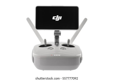 Varna, Bulgaria - January 05 ,2016: Remote controler of DJI Phantom 4 Pro Plus drone UAV quadcopter which shoots 4k video and 21 mp still images, controlled by wireless remote with a range of 4km,