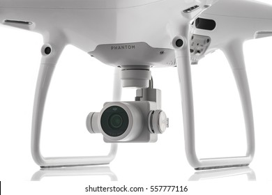 Varna, Bulgaria - January 05 ,2016: Remote controler of DJI Phantom 4 Pro Plus drone UAV quadcopter which shoots 4k video and 21 mp still images, controlled by wireless remote with a range of 4km