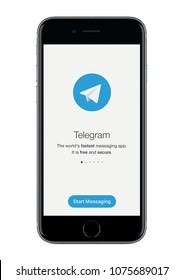 Varna, Bulgaria - January 23, 2018: Telegram messenger launch screen with Telegram logo on black Apple iPhone 8 display isolated on white background.