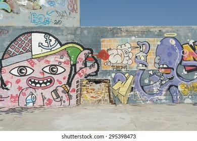 Varna, Bulgaria - July 09, 2015: Unknown painter painted on a wall in the port of Varna, Bulgaria.