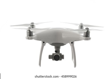 Varna, Bulgaria - July 21 ,2016: Flying drone quadcopter Dji Phantom 4 Optimized Vision Positioning System, isolated on white