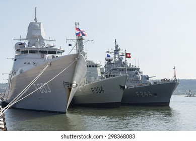 """Varna, Bulgaria - July 6, 2015 Part of foreign warships participating in teaching """"Breeze 2015"""" were open to the citizens and guests of Varna."""