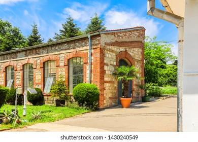 VARNA, BULGARIA - JUNE 06, 2019: Greenhouses in the park of Palace Evxinograd. Black Sea coast, Varna, Bulgaria
