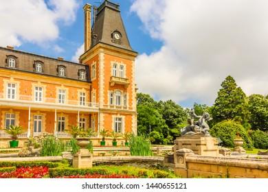 VARNA, BULGARIA - JUNE 06, 2019: Park and Palace Evxinograd. Black Sea coast, Varna, Bulgaria