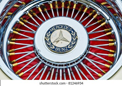 """VARNA, BULGARIA - JUNE 25: The annual Retro rally """"Old capitals"""" finished for the first time in town of Varna on June 25, 2011 in Varna, Bulgaria. Replica of Mercedes-Benz 500 , 1936"""