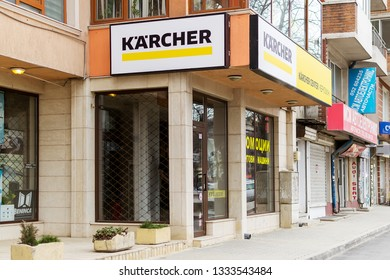 Varna, Bulgaria, March 03, 2019. Karcher signboard above the brand shop and service center in Varna, view from the street. Karcher produces equipment for high pressure cleaners floor care.