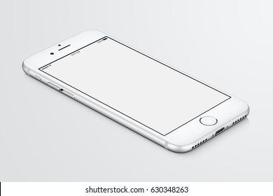 Varna, Bulgaria - March 10, 2016: Silver Apple iPhone 7 mockup lies on the surface with white blank screen. High-quality studio shot.
