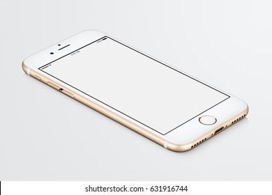 Varna, Bulgaria - March 10, 2016: Gold Apple iPhone 7 mockup lies on the surface with white blank screen. High-quality studio shot.
