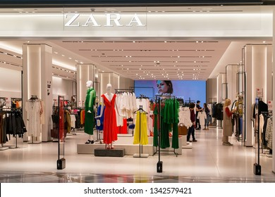 Varna, Bulgaria, March 17, 2019. Entrance to Zara store in the Grand Mall shopping center. Bright and fashionable salesroom of Zara in Bulgaria.