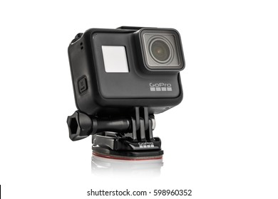 Varna, Bulgaria - March 9, 2017: GoPro Hero 5 Black isolated on white background.manufactured by GoPro Inc