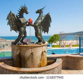 VARNA, BULGARIA - MAY 02, 2017: Sculptures of two dragons with egg on sea embankment, became a symbol of the town