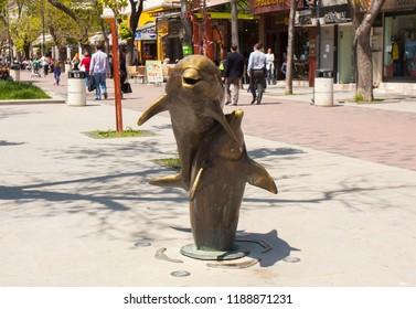 VARNA, BULGARIA - MAY 02, 2017: Sculptures of dolphins on Slivitsa boulevard