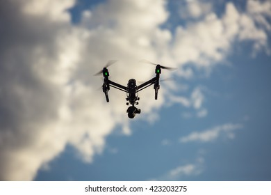 Varna, Bulgaria - May 13 ,2016: Image of DJI Inspire 1 Pro drone UAV quadcopter which shoots 4k video and 16mp still images  and is controlled by wireless remote with a range of 2km