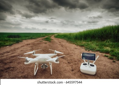 Varna, Bulgaria - May 23 ,2017: Remote controler of DJI Phantom 4 Pro Plus drone UAV quadcopter which shoots 4k video and 21 mp still images  and is controlled by wireless remote with a range of 4km
