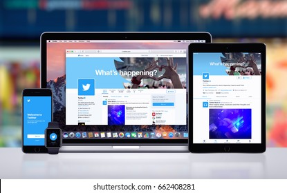 Varna, Bulgaria - May 23, 2017: Twitter on the Apple MacBook Pro, Twitter app on iPad Pro, Twitter splash screen with logo on iPhone7 and Twitter notification icon on Apple Watch. Office desk concept.