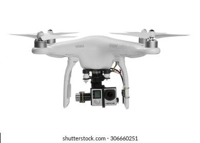 Varna, Bulgaria - MAY 28 ,2015: Flying drone quadcopter Dji Phantom 2 with digital camera GoPro HERO4 isolated on white