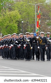 Varna, Bulgaria - May 6, 2017: Unidentified parade participants in a military parade. The parade is held to celebrate May 6, the Day of the Bulgarian Army.