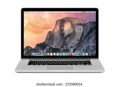Varna, Bulgaria - November 03, 2013: Front view of Apple 15 inch MacBook Pro Retina with OS X Yosemite on the display. Isolated on white background. High quality.