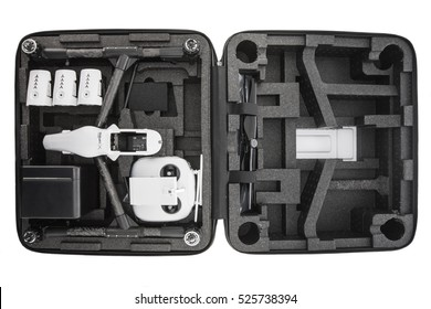 Varna, Bulgaria - November 18 ,2016: Image of DJI Inspire 1 Pro drone UAV quadcopter which shoots 4k video and 16mp still images  and is controlled by wireless remote with a range of 2km, isolated