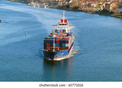 VARNA, BULGARIA - NOVEMBER 18: Moroccan cargo ship OUED ZIZ (Year Built: 1998, DeadWeight: 7600 t) sails into Port of Varna-West on November 18, 2010 in Varna, Bulgaria.
