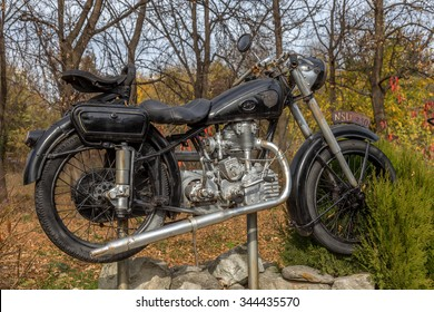 Varna, Bulgaria November 19, 2015: Unique Retro motorcycle exhibition Bulgarian collectors. Older bikes were very popular in the middle of the last century. Religious legendary tales