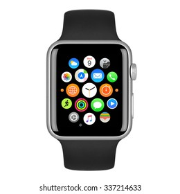 Varna, Bulgaria - October 15, 2015: Apple Watch Sport 42mm Silver Aluminum Case with Black Sport Band with homescreen on the display. Front view close up studio shot. Isolated on white background.