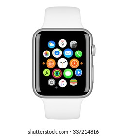 Varna, Bulgaria - October 15, 2015: Apple Watch Sport 42mm Silver Aluminum Case with White Sport Band with homescreen on the display. Front view close up studio shot. Isolated on white background.