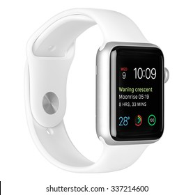 Varna, Bulgaria - October 16, 2015: Apple Watch Sport 42mm Silver Aluminum Case with White Sport Band with modular clock face on the display. Left side view fully in focus isolated on white background
