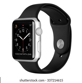Varna, Bulgaria - October 16, 2015: Apple Watch Sport 42mm Silver Aluminum Case with Black Sport Band with clock face on the display. Side view studio shot fully in focus. Isolated on white background