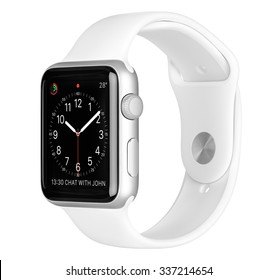 Varna, Bulgaria - October 16, 2015: Apple Watch Sport 42mm Silver Aluminum Case with White Sport Band with clock face on the display. Side view studio shot fully in focus. Isolated on white background