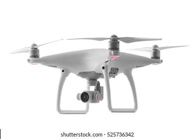 Varna, Bulgaria - October 17 ,2016: Flying drone quadcopter Dji Phantom 4 Optimized Vision Positioning System, isolated on white
