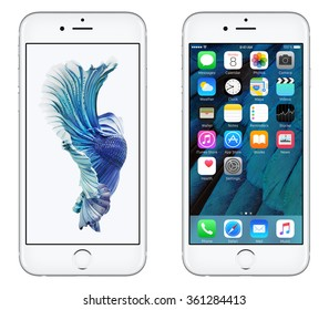 Varna, Bulgaria - October 24, 2015: Front view of Silver Apple iPhone 6S with iOS 9 mobile operating system and Siamese Fighting Fish Dynamic Wallpaper on the screen. Isolated on white.