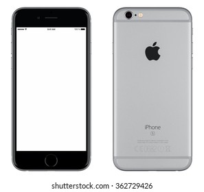 Varna, Bulgaria - October 24, 2015: Front view of Space Gray Apple iPhone 6S mockup with white screen and back side with Apple Inc logo. Isolated on white.