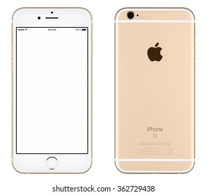 Varna, Bulgaria - October 24, 2015: Front view of Gold Apple iPhone 6S mockup with white screen and back side with Apple Inc logo. Isolated on white.