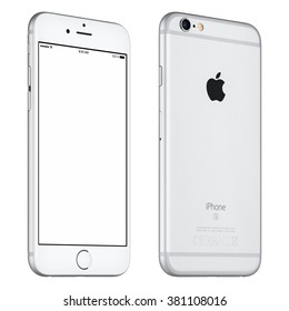 Varna, Bulgaria - October 24, 2015: Front view of Silver Apple iPhone 6S mockup slightly rotated with white screen and back side with Apple Inc logo. Isolated on white.