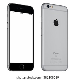 Varna, Bulgaria - October 24, 2015: Front view of Space Gray Apple iPhone 6S mockup slightly rotated with white screen and back side with Apple Inc logo. Isolated on white.