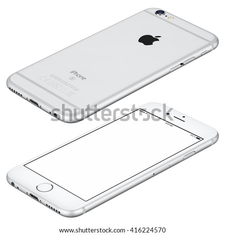 Varna, Bulgaria - October 25, 2015: Silver Apple iPhone 6s mockup lies on the surface clockwise rotated with white screen and back side with Apple Inc logo. Isolated on white.