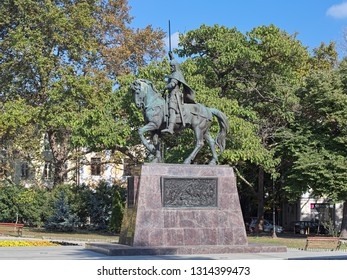 VARNA, BULGARIA - OCTOBER 3, 2017: Monument to Tsar Kaloyan, Emperor of the Bulgarians and Vlachs in 1196-1207. The monument was unveiled in 2007 to commemorate the 800th anniversary of tsar's death.