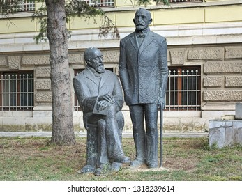 VARNA, BULGARIA - OCTOBER 7, 2017: Karel and Hermann Skorpil monument in front of the Varna Archaeological Museum. Brothers Karel and Hermann Skorpil are the founders of the Bulgarian archaeology.