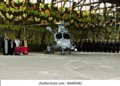VARNA, BULGARIA - OCTOBER 9: Bulgarian Navy formally receive the first out of a total of three Panther helicopters agreed between Eurocopter and Bulgarian MoD on October 9, 2011 in Varna, Bulgaria.