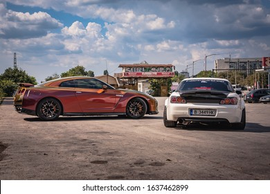 Varna, Bulgaria - September 25, 2018: Honda S2000 Turbo and Nissan GTR R50 chameleon sport car, LED tail lights, spoiler, carbon diffuser and custom exhaust. Big wheels. Wide fenders and forged rims