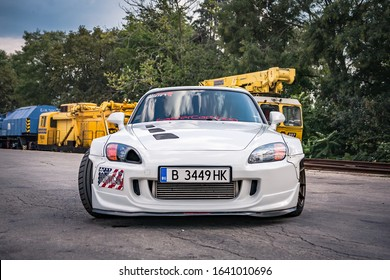 Varna, Bulgaria - September 25, 2018: Honda S2000 Turbo front view, sport car, LED headlights, spoiler, front intercooler, carbon diffuser and front spliter. Big wheels. Wide fenders and forged rims