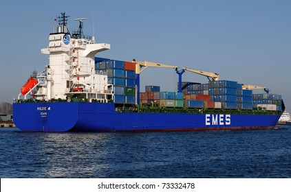 VARNA, BULGARIA-MAR 14: Turkish cargo ship HILDE A (Year Built: 2005, Dead Weight: 22033 t) sails away into open sea after a short stay in Varna-west port on March 14, 2011 in Varna, Bulgaria