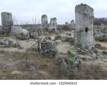 Varna province, Bulgaria - February 2018: The hollow limestone columns being destroyed gradually in the famous Stone Desert (Pobiti Kamani)
