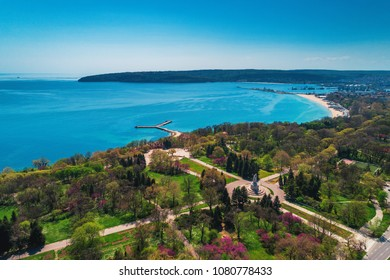 Varna spring time, beautiful aerial view above sea garden.