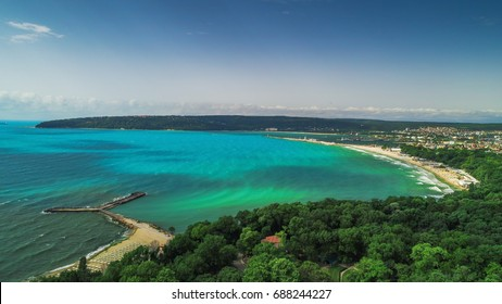 Varna summer time, beautiful aerial view above sea garden.