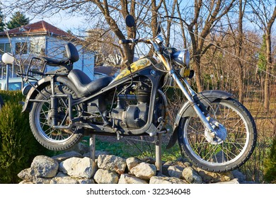 VARNA,BULGARIA, 20.01.2015: Old rusty motorcycle company BMW in the park of the city of Varna in Bulgaria