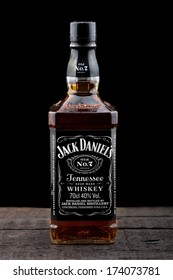 "VARNA,BULGARIA-January 26,2014: Photo of bottle of ""Jack Daniel's"" Tennessee  whiskey.Jack Daniel's is a brand of sour mash Tennessee whiskey that is the highest selling American whiskey in the world"